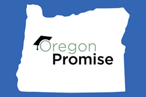 Oregon promise logo set on an outline of the state of oregon