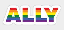 the word ALLY in rainbow colors