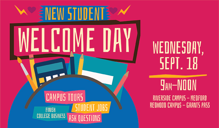 New student welcome day September 18 from 9 to noon
