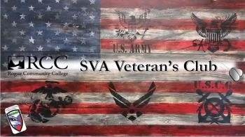 SVA veterans club words on an american flag background