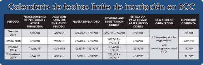 enrollment calendar in espanol
